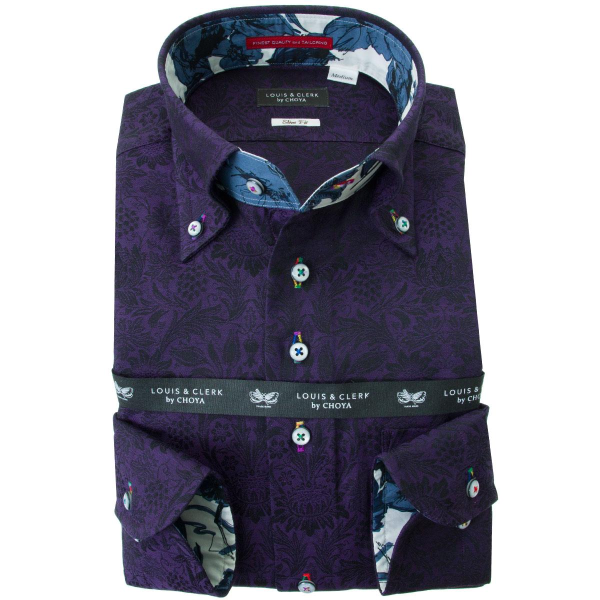 ドレスシャツ ワイシャツ シャツ メンズ 国産 長袖 綿100% スリムフィット ボタンダウン ダークパープル ジャガードサンフラワー 2001