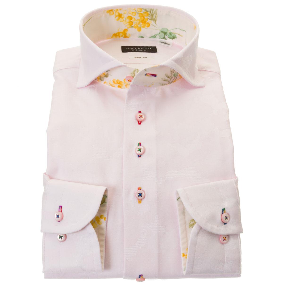 日本生まれ 日本デザイン 日本製 超人気 国産 長袖 綿100% 新入荷 流行 ドレスシャツ カッタウェイワイド 日本地図 マップ ジャガード織柄 迷彩柄風 ライトピンク スリムフィット 2109de 胸ポケット無