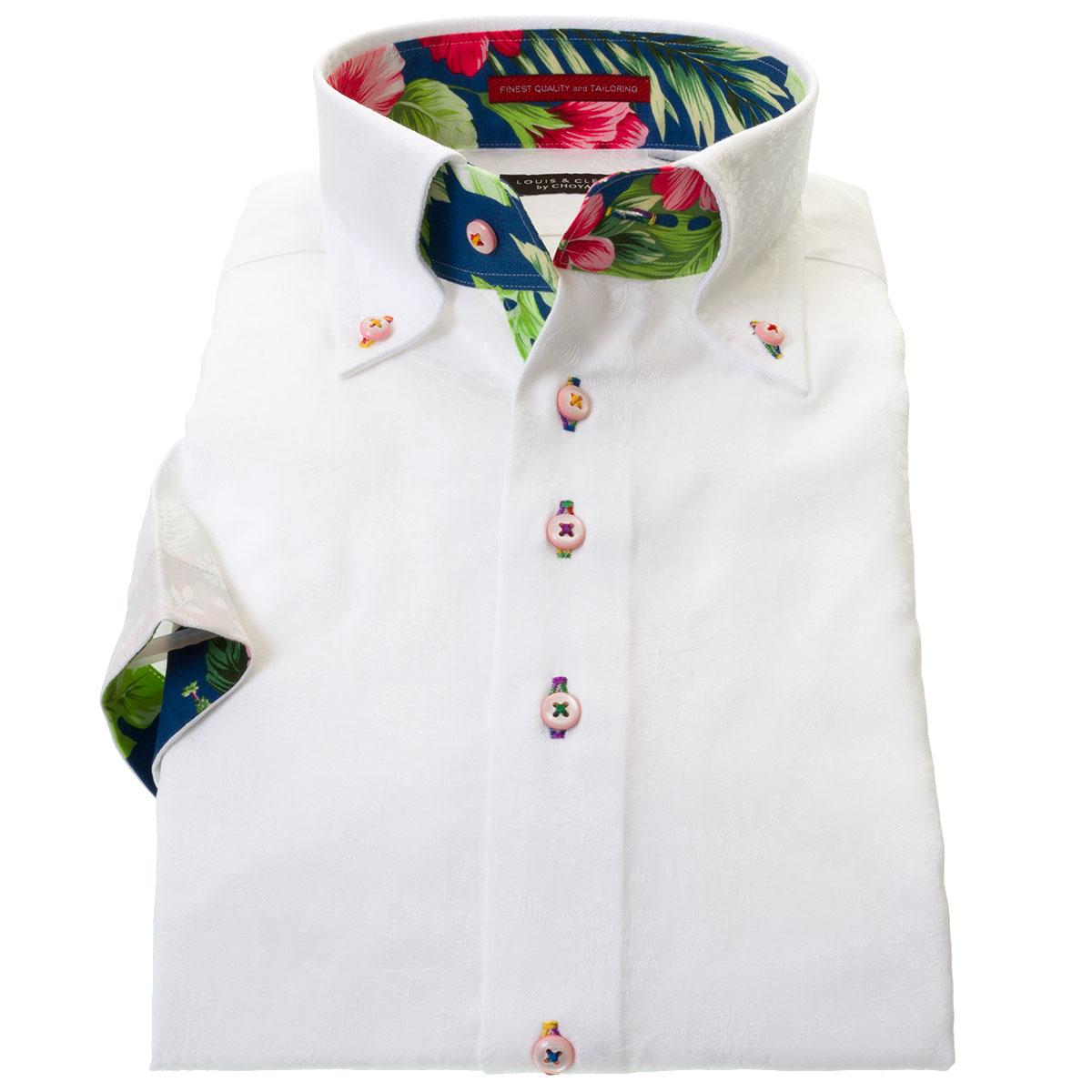 国産半袖ドレスシャツ ボタンダウン コンフォート 綿100% 胸ポケット無 ホワイトジャガード フラワー ハート  メンズ