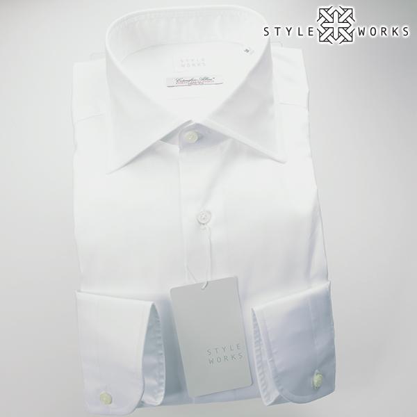 国産オリジナル長袖ドレスシャツ ワイドカラー ホワイトピンオックスフォード イタリア製ALBINI生地メンズ