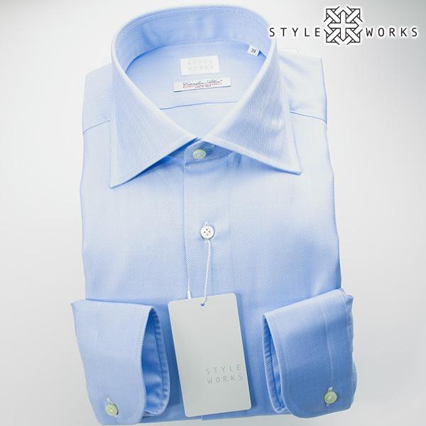 ドレスシャツ ワイシャツ シャツ メンズ 国産 オリジナル 長袖 ワイドカラー サックスブルーヘリンボーン イタリア製ALBINI生地