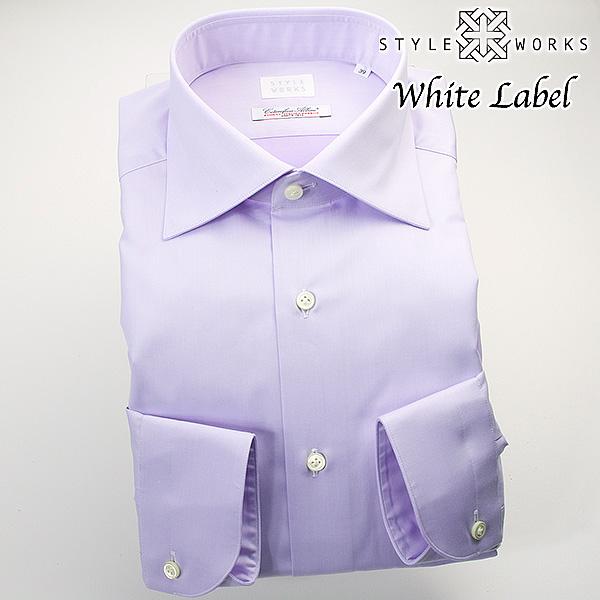 ドレスシャツ ワイシャツ シャツ メンズ 国産 オリジナル 長袖 ワイドカラー ライトパープル無地 イタリア製ALBINI生地