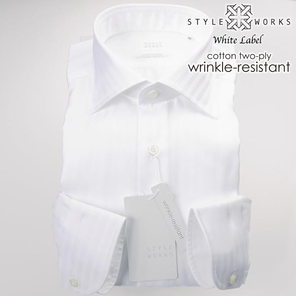 ドレスシャツ ワイシャツ シャツ メンズ 国産 オリジナル 長袖 ワイドカラー ホワイトドビーロンドンストライプ リンクルレジスタント・防しわ加工