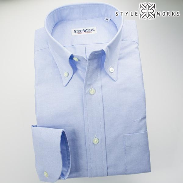 ドレスシャツ ワイシャツ シャツ メンズ 国産 オリジナル 長袖 ボタンダウンカラー サックスブルーシャンブレーオックスフォード アメリカン・トラッド