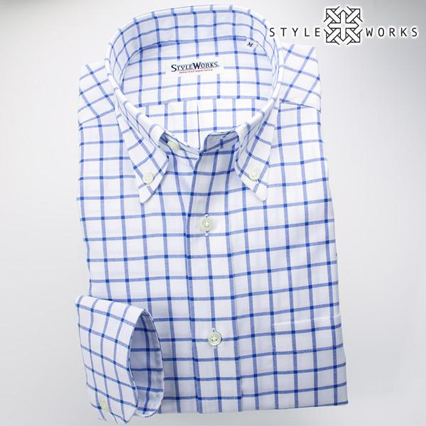 ドレスシャツ ワイシャツ シャツ メンズ 国産 オリジナル 長袖 ボタンダウンカラー ブルーグラフチェック・シャンブレーオックスフォード アメリカントラッド