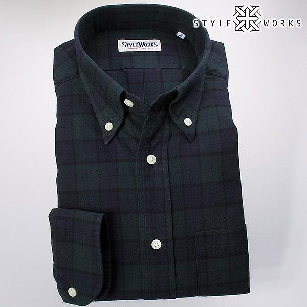 ドレスシャツ ワイシャツ シャツ メンズ 国産 オリジナル 長袖 ボタンダウンカラー 製品洗い加工 ブラックウォッチ ツイルコットン