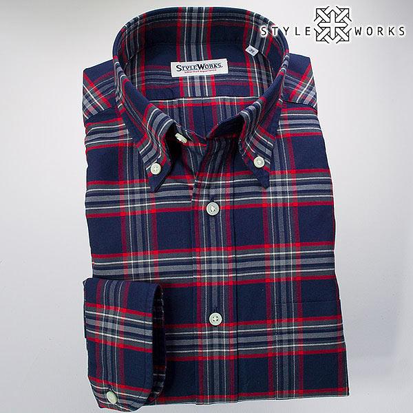 ドレスシャツ ワイシャツ シャツ メンズ 国産 長袖 ボタンダウンカラー 製品洗い加工 タータンチェック コットンオックスフォード ブルー・レッド・グレー