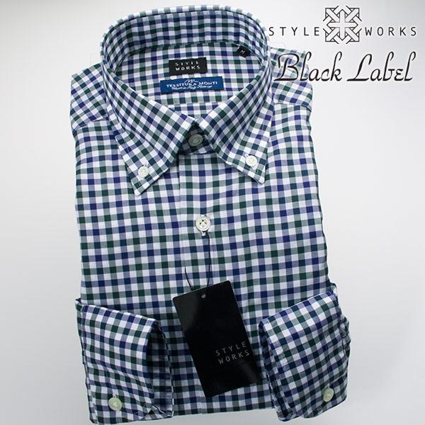 ドレスシャツ ワイシャツ シャツ メンズ 国産 オリジナル 長袖 ボタンダウンカラー 製品洗い加工 シェパードチェック モスグリーン・ネイビー