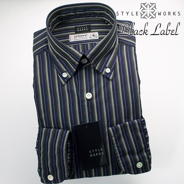 ドレスシャツ ワイシャツ シャツ メンズ 国産 オリジナル 長袖 ボタンダウンカラー 製品洗い加工 カスケードストライプ ネイビーパープル getzner生地