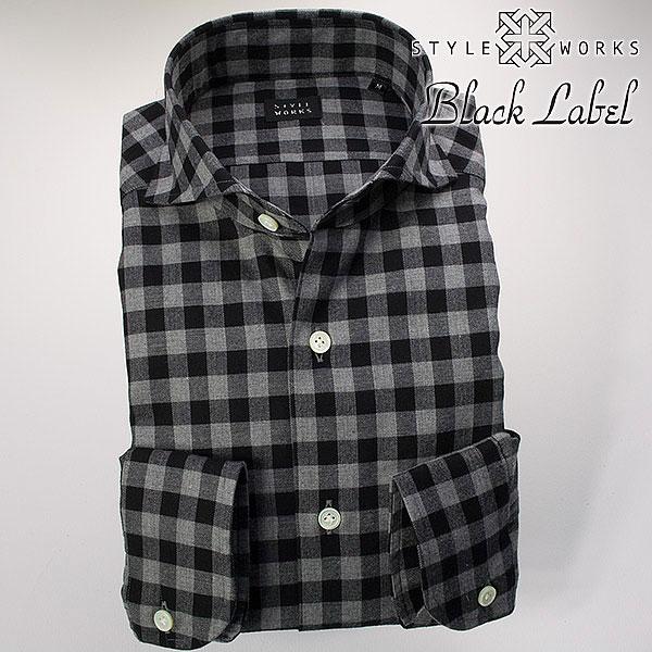 ドレスシャツ ワイシャツ シャツ メンズ 国産 オリジナル 長袖 カッタウェイワイドカラー 微起毛コットンツイル ブラック・グレー ラージギンガムチェック