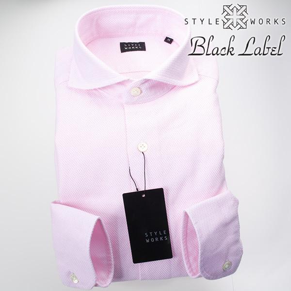 カジュアルシャツ 国産 オリジナル 長袖ドレス カッタウェイワイドカラー シャンブレーピンク カラミ織 製品洗い加工