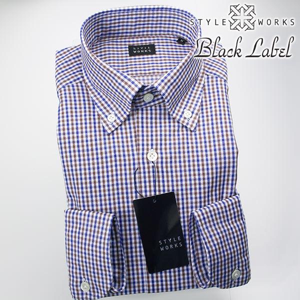 カジュアルシャツ 国産 オリジナル 長袖ドレス ボタンダウンカラー カラミ織 ガングラフチェック ブラウン・ブルー 1705