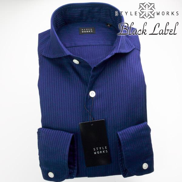 カジュアルシャツ 国産 長袖ドレス カッタウェイワイドカラー 製品洗い加工 綿100% ネイビー ドビー・絡み織りストライプ 1705
