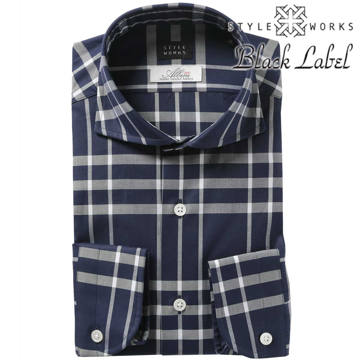 国産 ドレスシャツ ワイシャツ シャツ メンズ カジュアル シャツ カッタウェイワイド オックスフォード ネイビーホワイト ダブルチェック スリム アルビニ