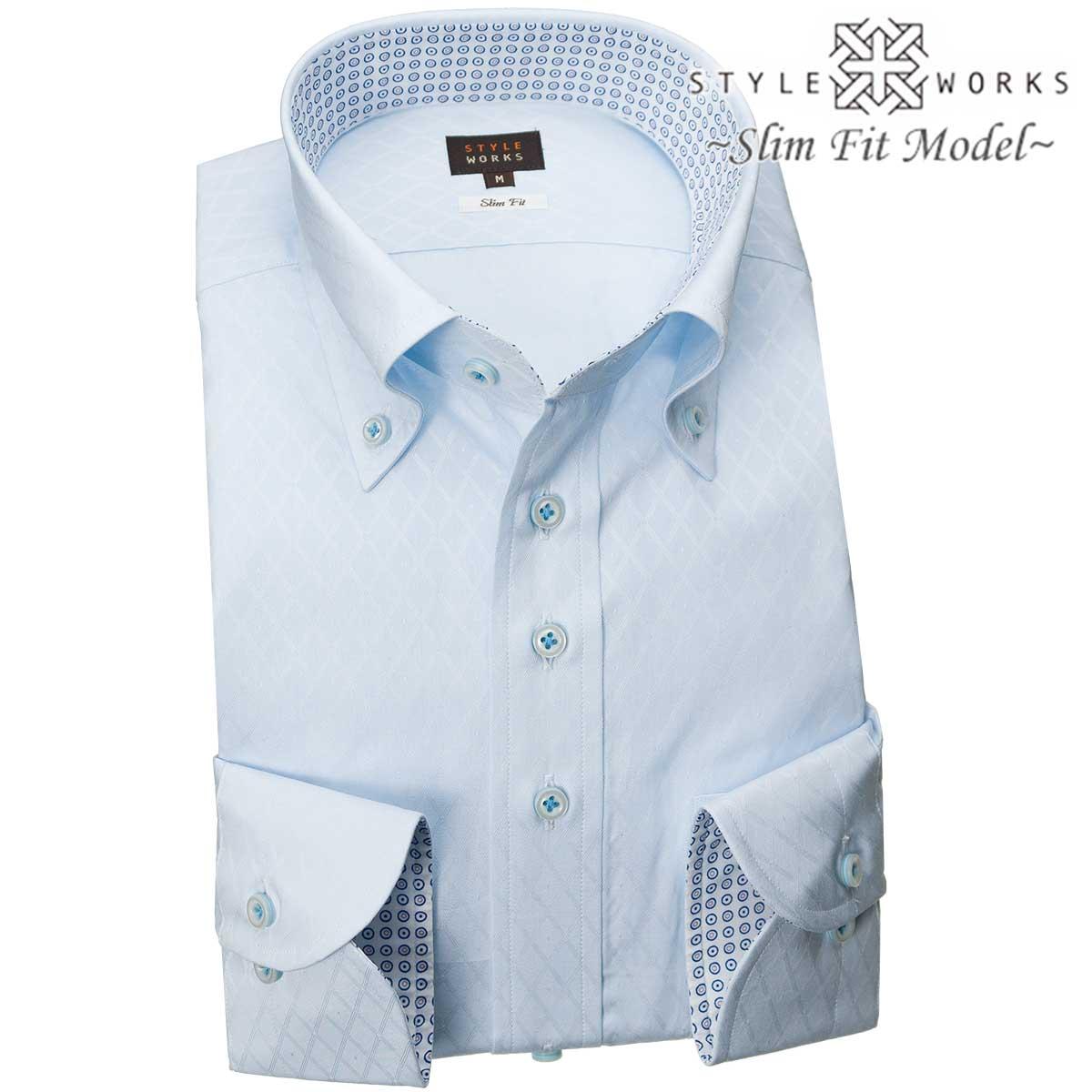 236b7c5b1b4 1811 domestic production long sleeves dress shirt slim fitting light blue  jacquard texture diagram check pin dot men fs3gm who are button-downed