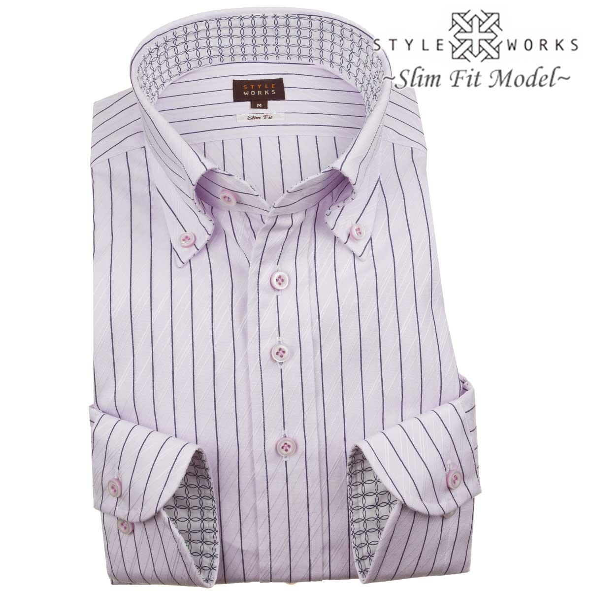 ドレスシャツ ワイシャツ シャツ メンズ 国産 長袖 綿100% スリムフィット ボタンダウン ラベンダー ネイビーペンシルストライプ ジャガードバイアスストライプ【Sサイズ・裄丈81cm】