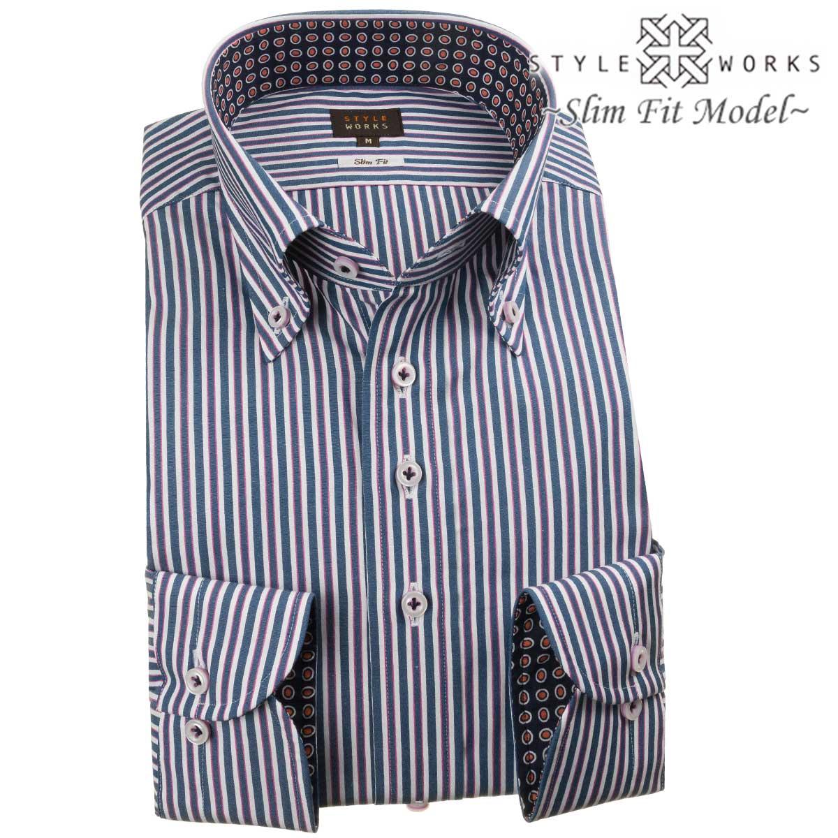 ドレスシャツ ワイシャツ シャツ メンズ 国産 長袖 綿100% スリムフィット ボタンダウン ピンクラインミックス・ネイビーロンドンストライプ 1907 fs3gm
