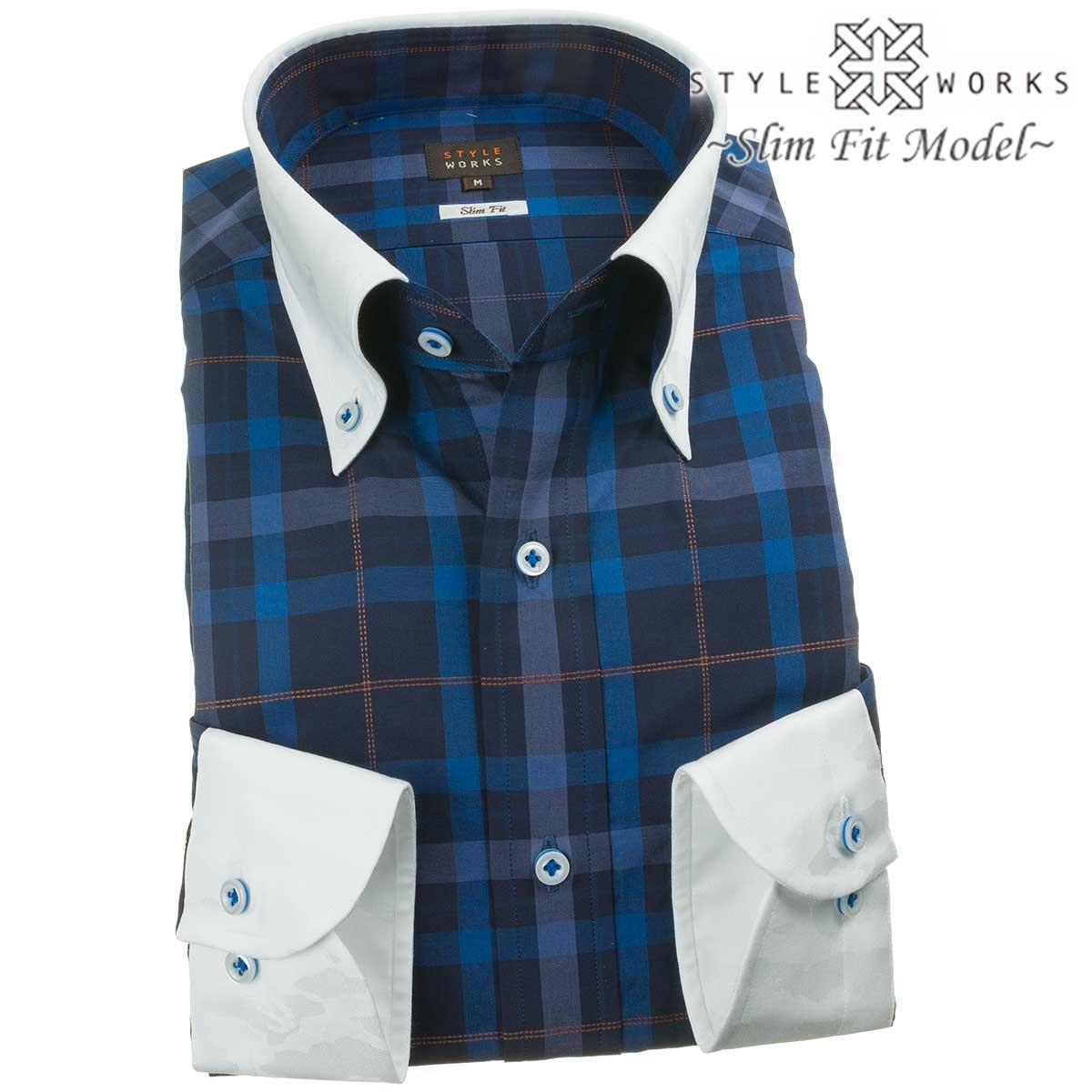 ドレスシャツ ワイシャツ シャツ メンズ 国産 長袖 純綿100% スリムフィット クレリックボタンダウン ネイビーブロックチェック ブラウン刺し子チェック 1907 fs3gm