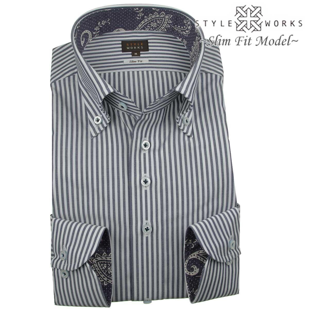 ドレスシャツ ワイシャツ シャツ メンズ 国産 長袖 綿100% スリムフィット ボタンダウン ロンドンストライプ ダークネイビー・ホワイト【Sサイズ・裄丈81cm】