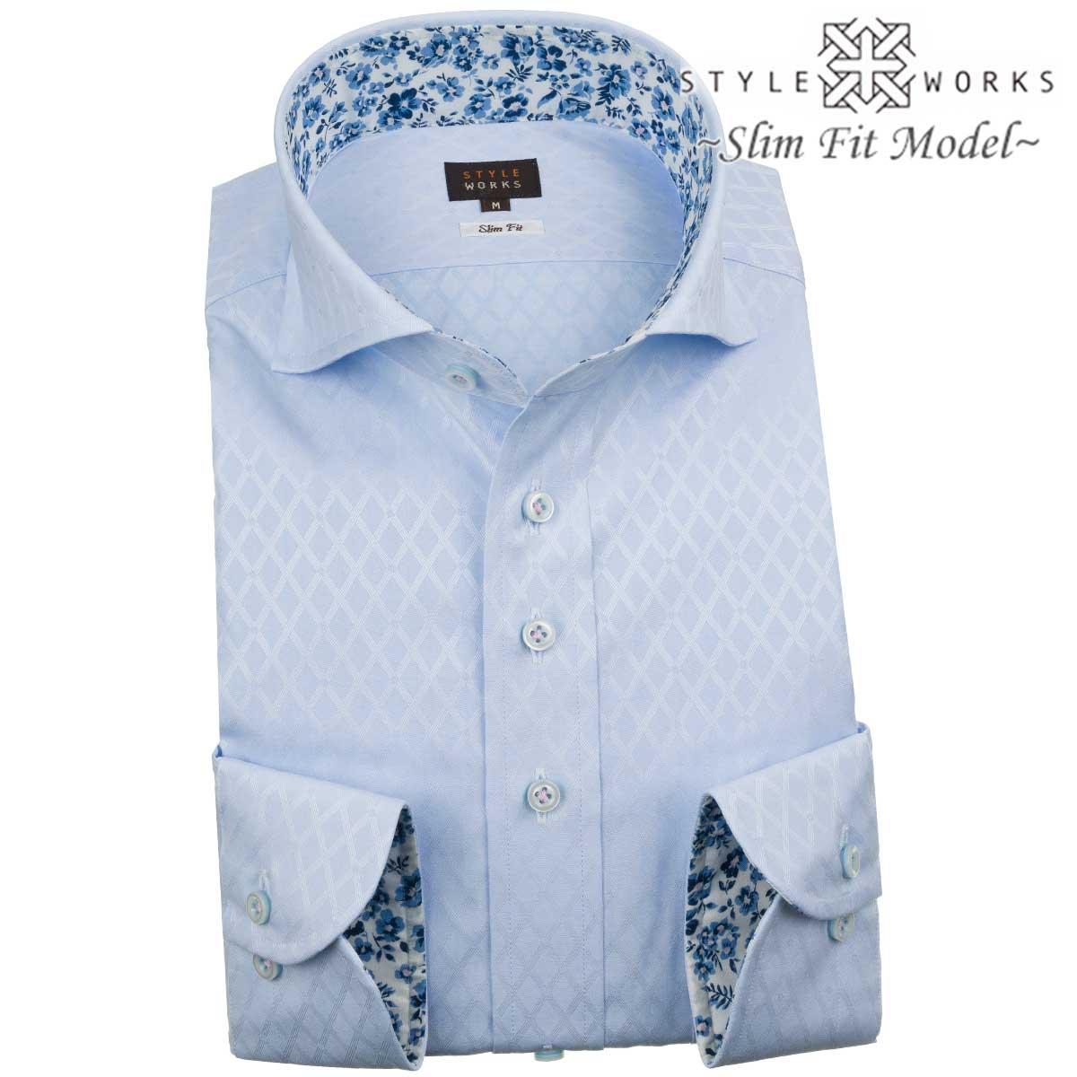 ドレスシャツ ワイシャツ シャツ メンズ 国産 長袖 綿100% スリムフィット カッタウェイワイド スカイブルー ジャガードバスケット風ダイアチェック【Sサイズ・裄丈81cm】