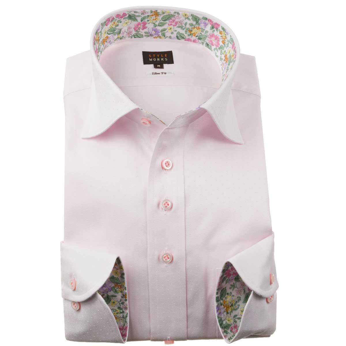 ドレスシャツ ワイシャツ シャツ メンズ 国産 長袖 スリムフィット 綿100% ワイドカラー パステルピンク ヘリンボーンストライプ ジャガードドット 1910 fs3gm