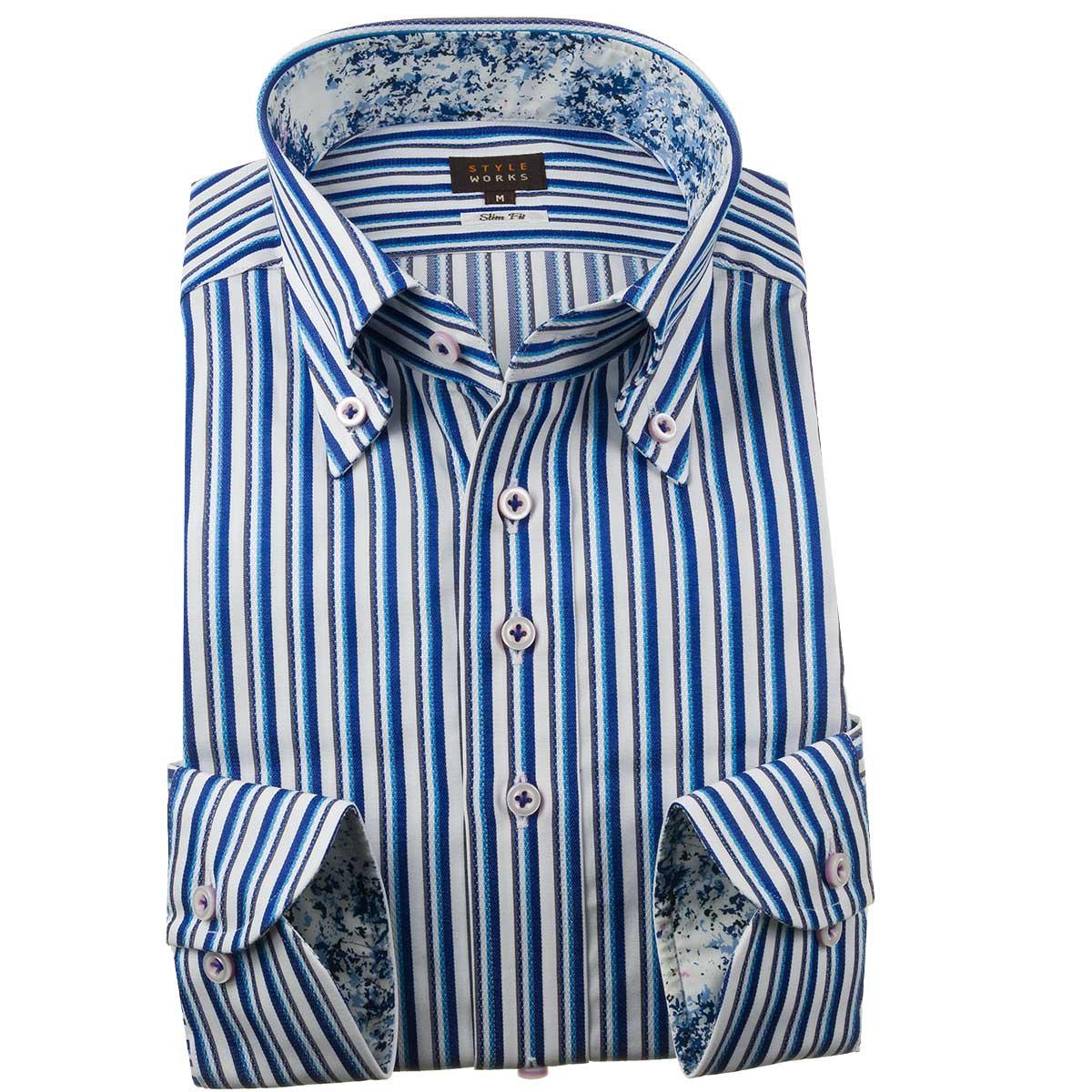 ドレスシャツ ワイシャツ シャツ メンズ 国産 長袖 スリムフィット ボタンダウン ブルーオルタネイトマルチストライプ 1910 fs3gm