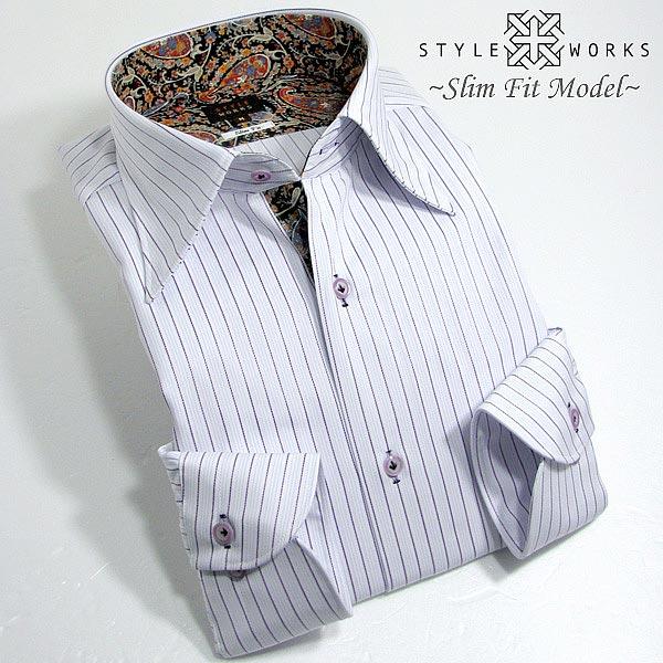 1308 国産コットンドレスシャツ 綿100 スリムフィット パープルストライプ レギュラーカラーメンズ  fs3gm:メンズシャツ専門店 STYLE WORKS