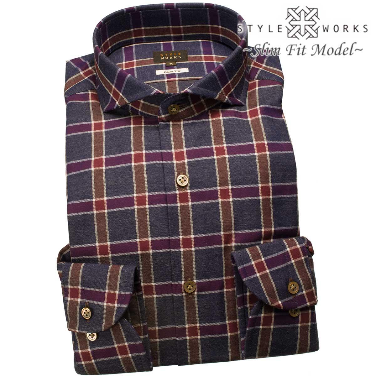 ドレスシャツ ワイシャツ シャツ メンズ 国産 長袖 スリムフィット 長袖 GIZA88 カッタウェイワイドカラー 杢グレー チェック 2つ巻き本縫い