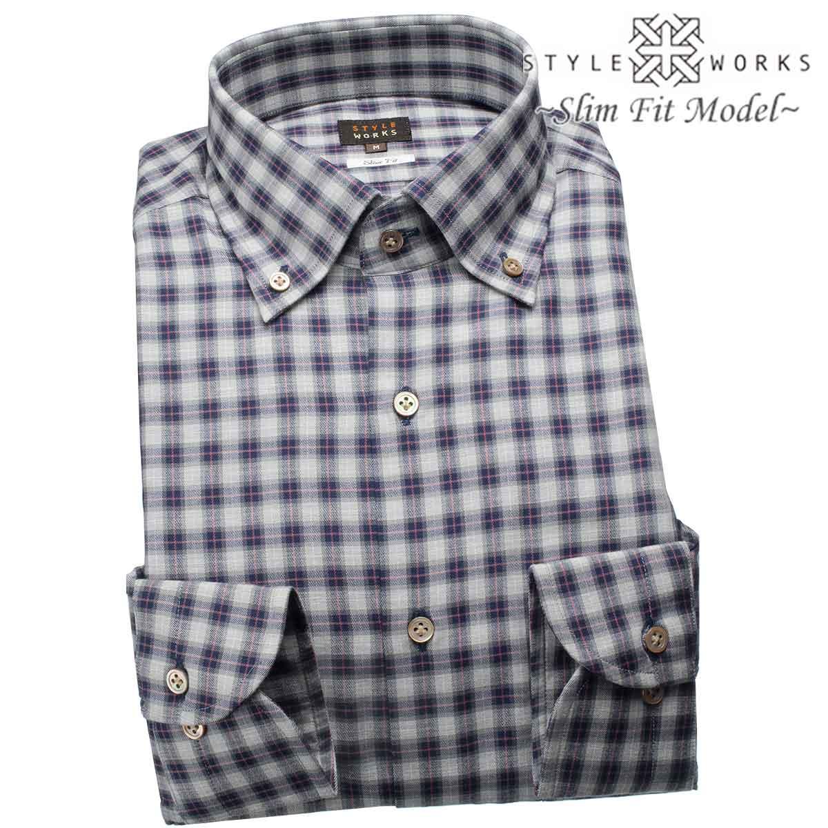 ドレスシャツ ワイシャツ シャツ メンズ 国産 長袖 スリムフィット 長袖 GIZA88 ボタンダウンカラー 杢薄グレー・ネイビー タータンチェック 【DEAL】