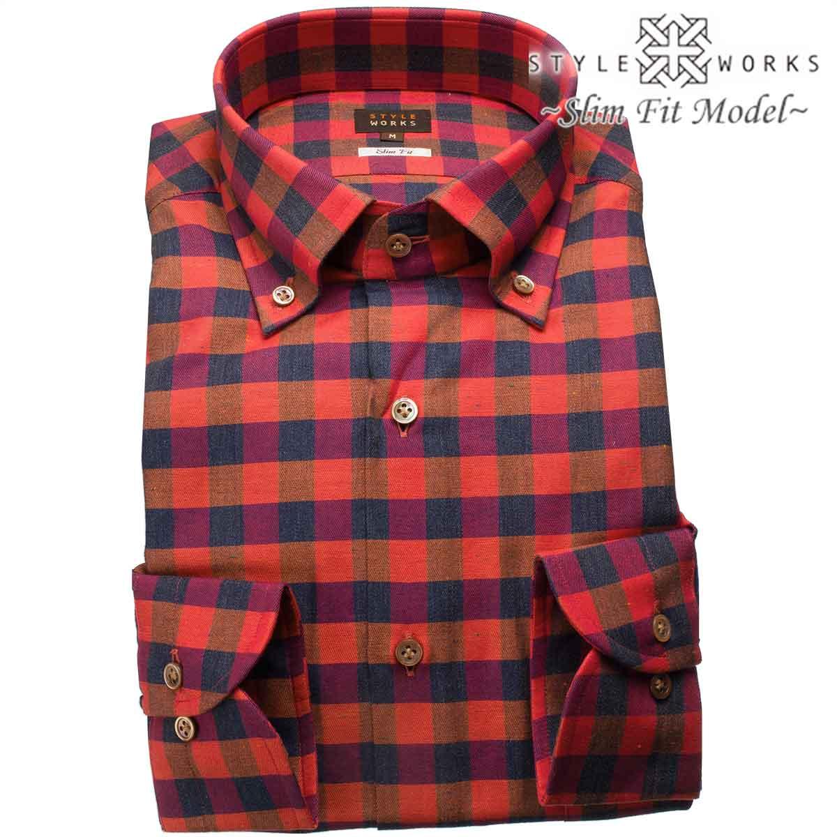 国産長袖ドレスシャツ スリムフィット 長袖 GIZA88 ボタンダウン ブロックチェック レッド・杢ネイビー・ブラウンメンズ
