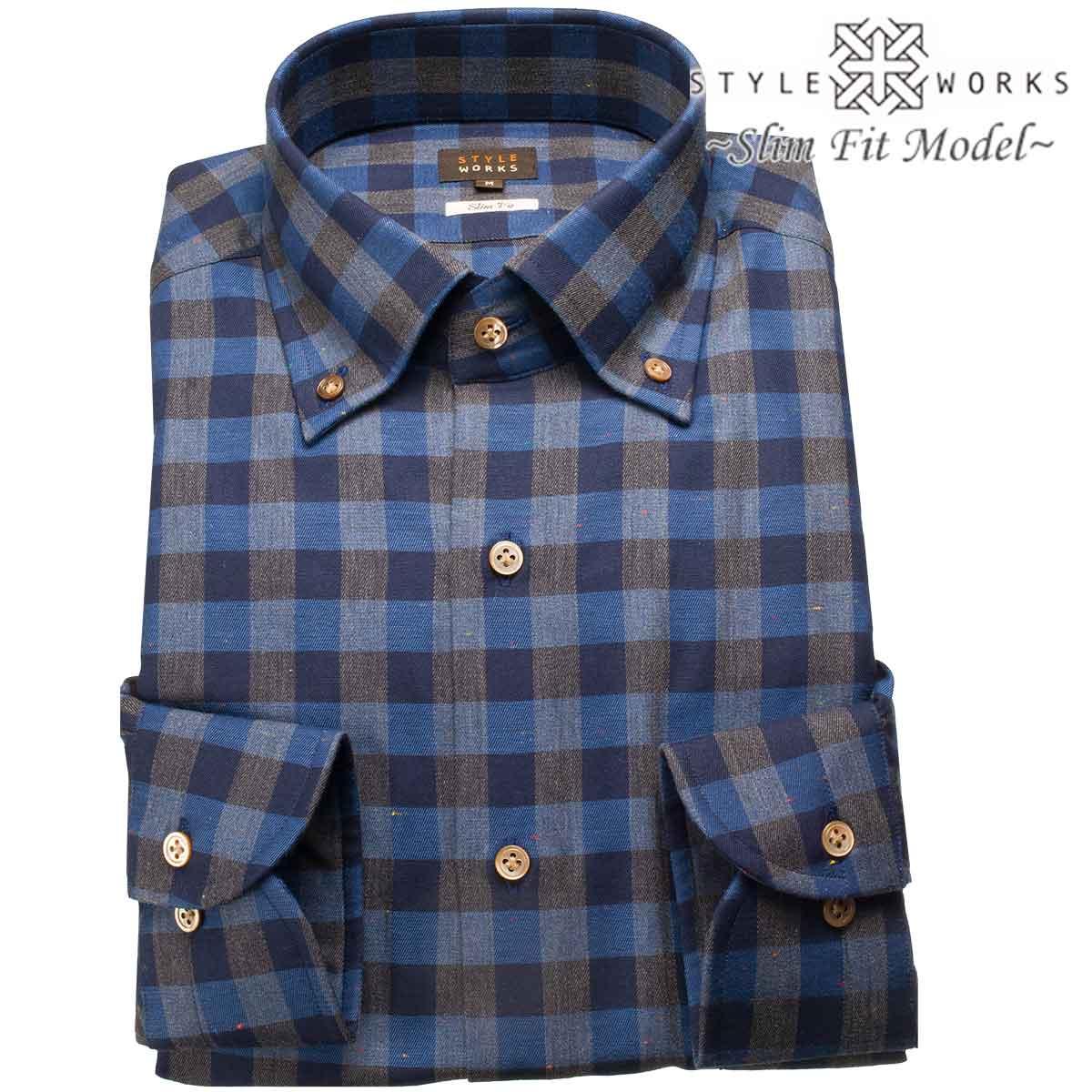 ドレスシャツ ワイシャツ シャツ メンズ 国産 長袖 スリムフィット 長袖 GIZA88 ボタンダウン ブロックチェック ネイビー・ブルー・チャコールグレー