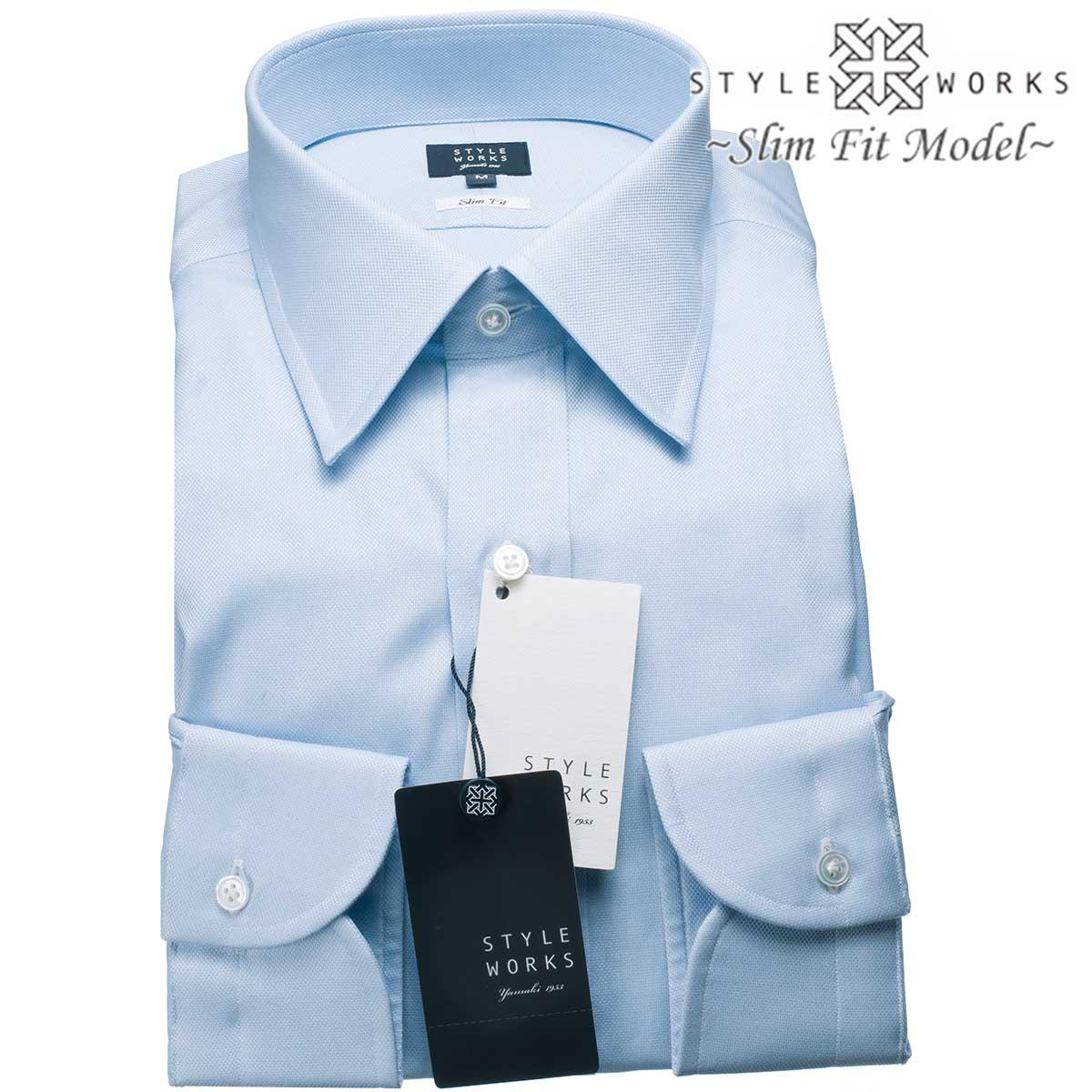 ドレスシャツ ワイシャツ シャツ メンズ 国産 長袖 スリムフィット GIZA88 レギュラーカラー ライトブルー ロイヤルオックスフォード