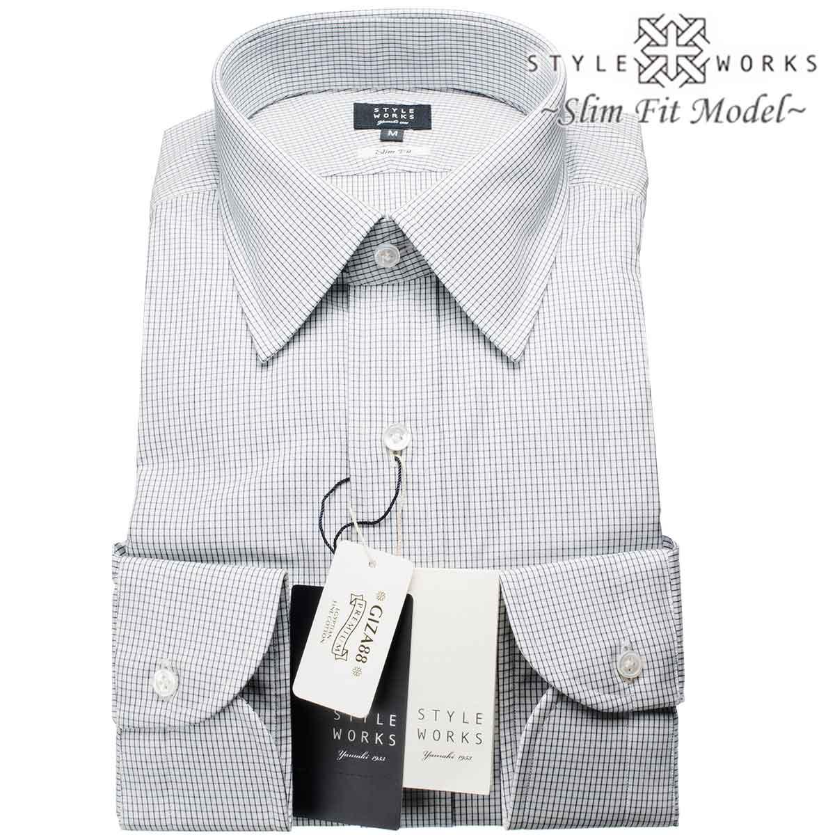 ドレスシャツ ワイシャツ シャツ メンズ 国産 長袖 スリムフィット GIZA88 レギュラーカラー ネイビーグラフチェック