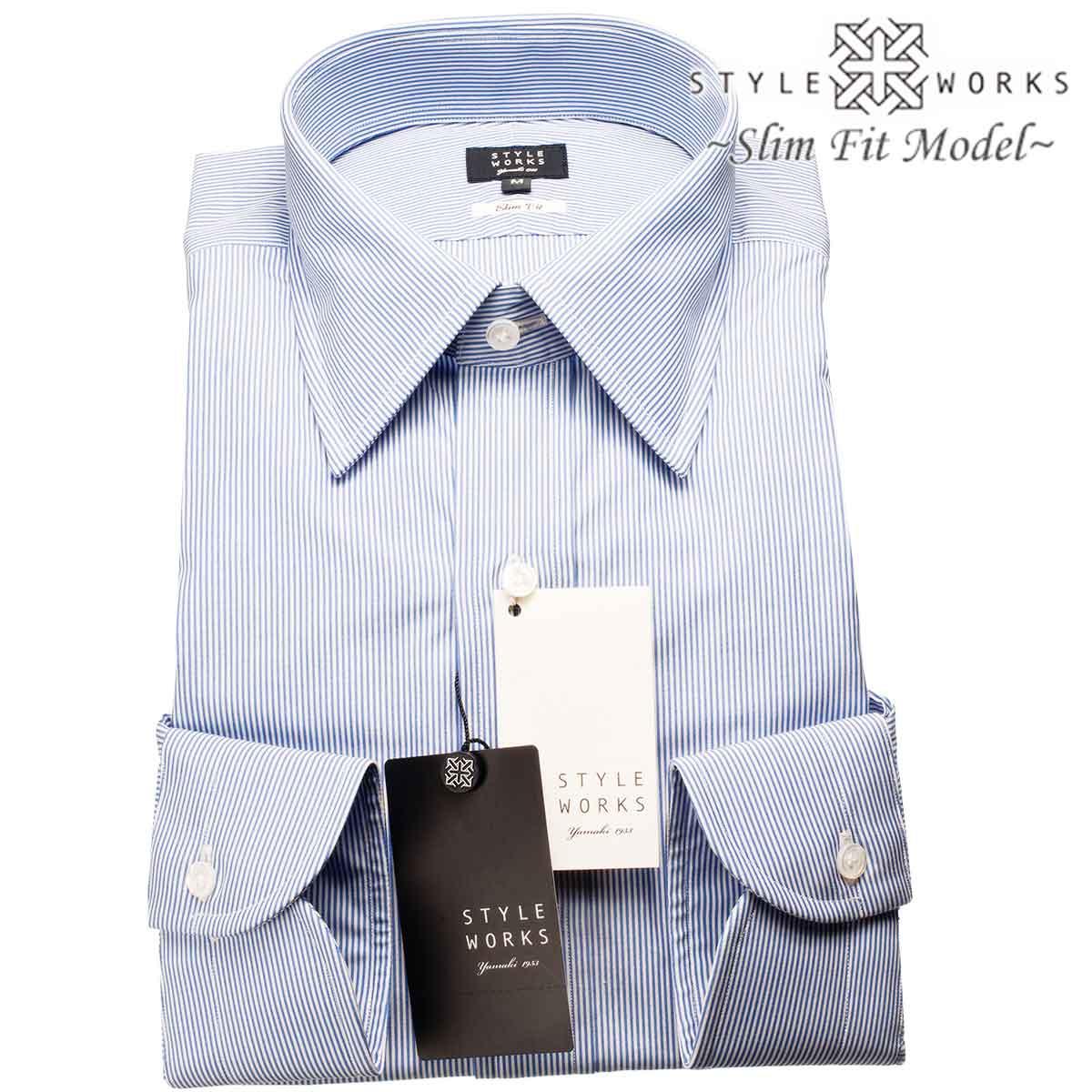 ドレスシャツ ワイシャツ シャツ メンズ 国産 長袖 スリムフィット GIZA88 レギュラーカラー ブルーペンシルブロックストライプ