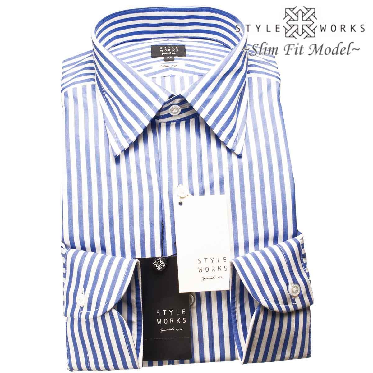 ドレスシャツ ワイシャツ シャツ メンズ 国産 長袖 スリムフィット GIZA88 レギュラーカラー ブルーブロック・ロンドンストライプ
