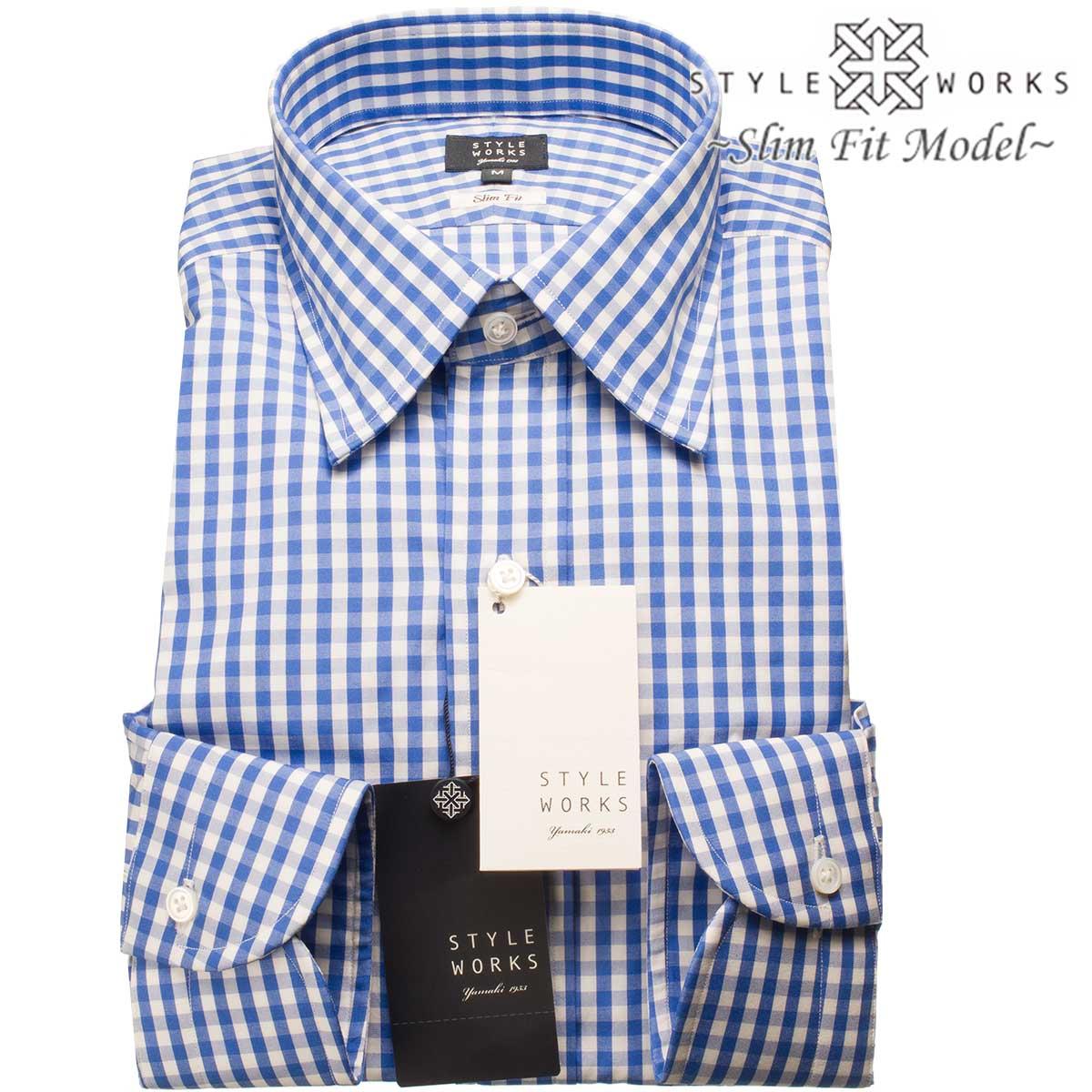 ドレスシャツ ワイシャツ シャツ メンズ 国産 長袖 スリムフィット GIZA88 レギュラーカラー ブルーブロック・ギンガムチェック