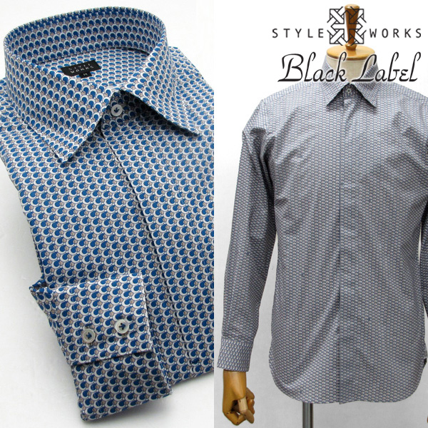 オリジナルプリントドレスシャツ ワイシャツ シャツ メンズ ウェーブパターン ワイドカラー・フライフロント ブルー・グレー 柄選択有