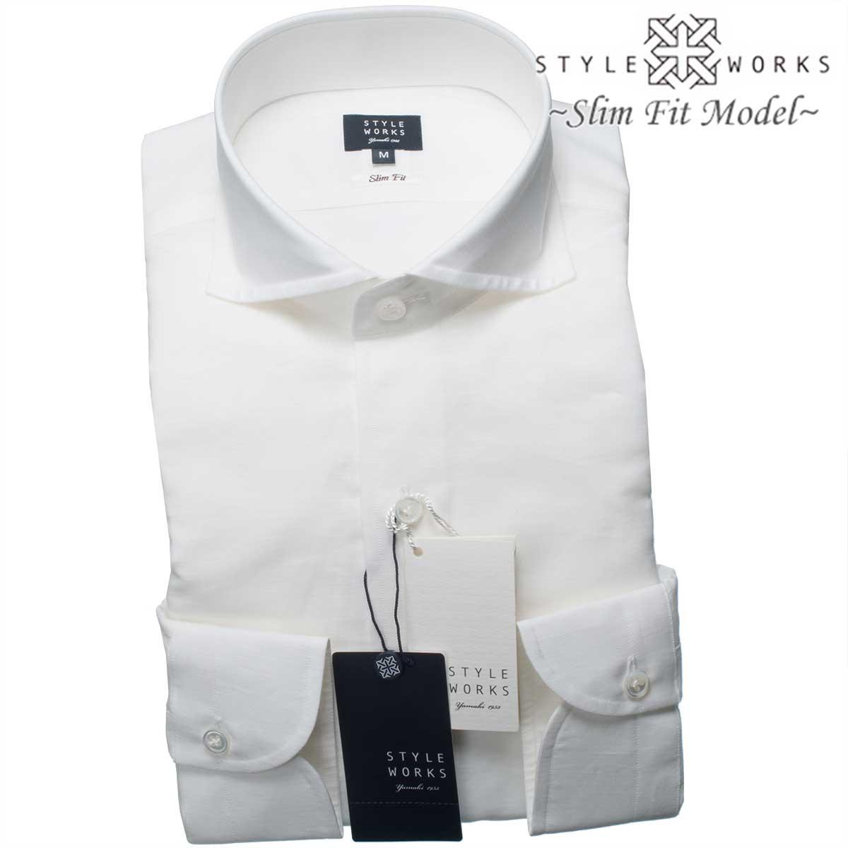国産オリジナル長袖ドレスシャツ Vintage Line スリムフィット カッタウェイワイド コットンリネン ホワイトメンズ 夏活躍