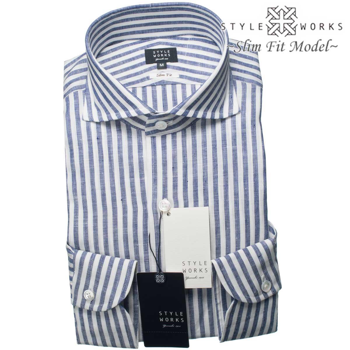 6a70c55165 STYLE WORKS: Domestic long sleeves dress shirt Vintage Line slim fitting  cutaway wide linen cotton blue London stripe men fs3gm | Rakuten Global  Market