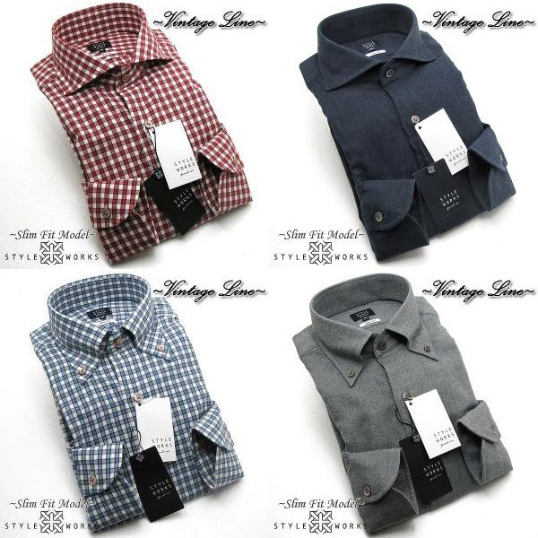 長袖ドレスシャツ VintageLine スリムフィット CANCLINI 綿フランネルメンズ 柄選択有 4柄 fs3gm