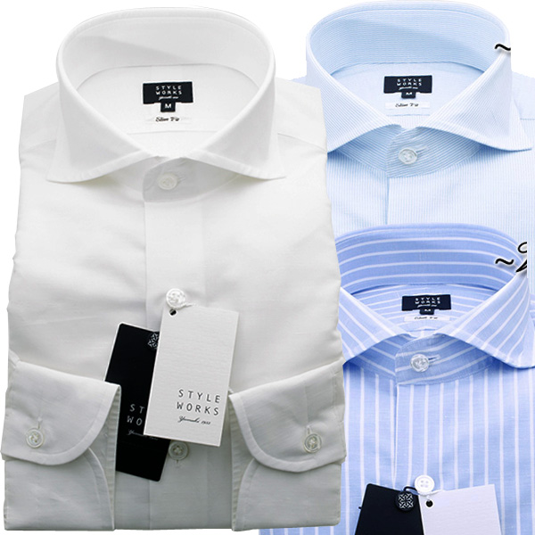 国産オリジナル長袖ドレスシャツ Vintage Line スリムフィット カッタウェイワイド コットンリネンメンズ 柄選択有 fs3gm