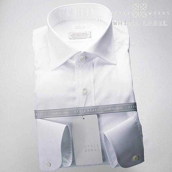 <White Label~ホワイトレーベル~>オリジナルドレスシャツ 長袖 ワイドカラー ホワイト メンズ