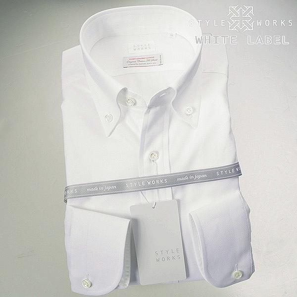 White Label~ホワイトレーベル 長袖国産ドレスシャツ ボタンダウン ホワイト ハニカムミニチェックドビーメンズ fs3gm