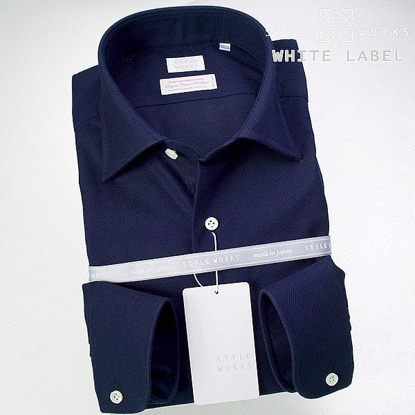 <White Label~ホワイトレーベル~>オリジナルドレスシャツ ワイシャツ シャツ メンズ 長袖 ワイドカラー ネイビー ハニカムチェックドビー