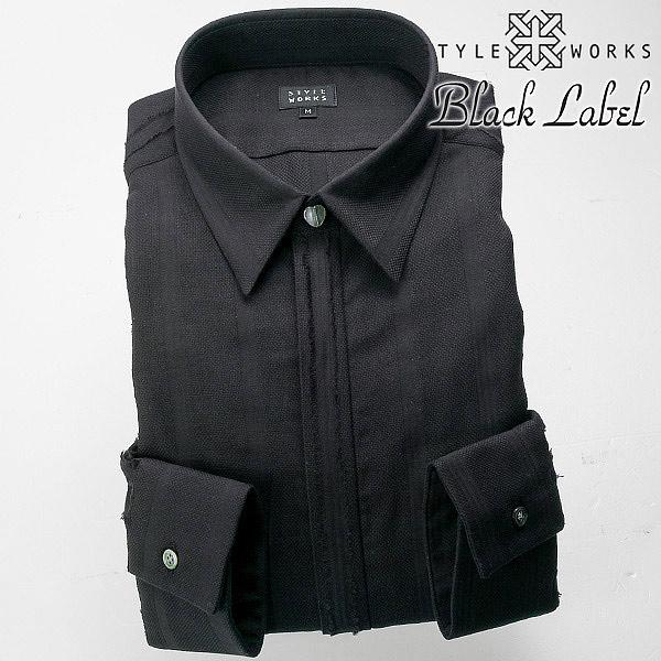 国産 長袖 綿100スリムフィットドレスシャツ ワイシャツ シャツ メンズ ショートレギュラー ブザム/ボザム ブラック・カットジャガードストライプ