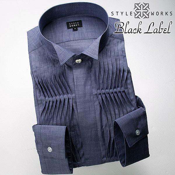 国産長袖綿100スリムフィットドレスシャツ ウィングカラー ウイングカラー 比翼 シャンブレー 変形ピンタックボザムメンズ fs3gm