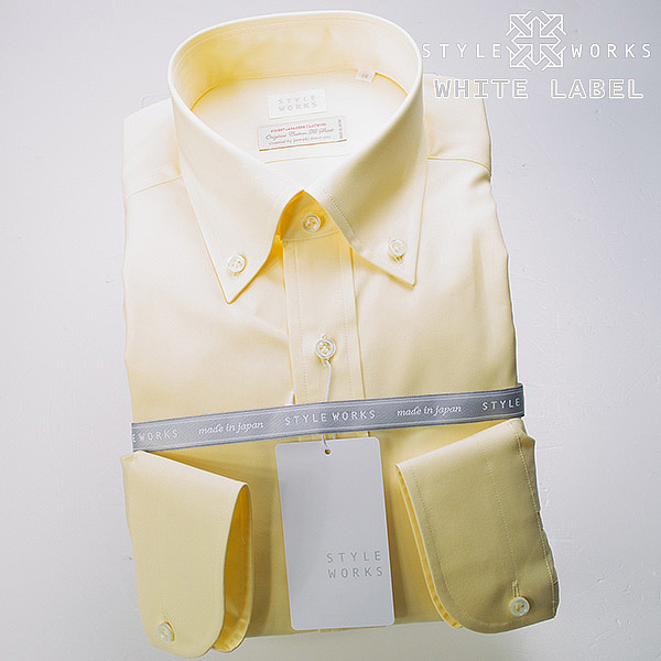 <White Label~ホワイトレーベル~>オリジナルドレスシャツ ワイシャツ シャツ メンズ 長袖 ボタンダウンカラー レモンイエロー