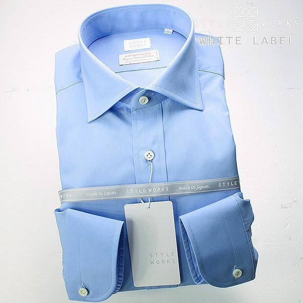 <White Label~ホワイトレーベル~>オリジナルドレスシャツ ワイシャツ シャツ メンズ 長袖 ワイドカラー サックスブルー