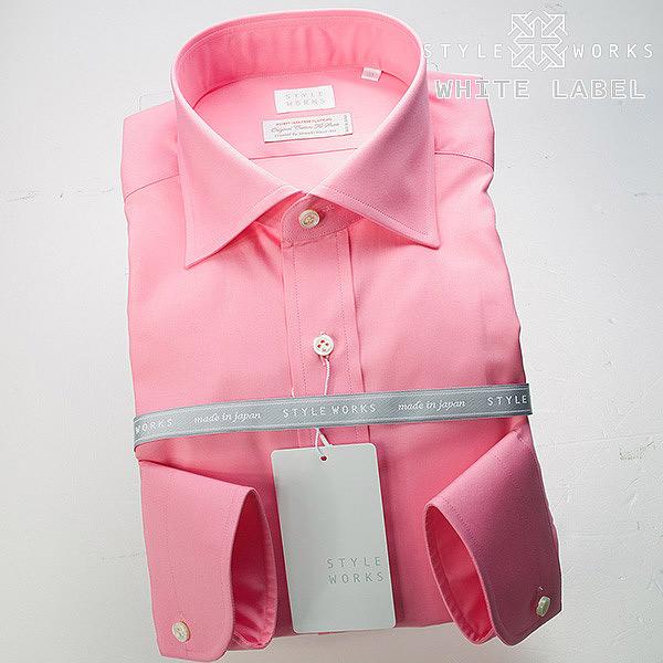 <White Label~ホワイトレーベル~>オリジナルドレスシャツ ワイシャツ シャツ メンズ 長袖 ワイドカラー ピンク