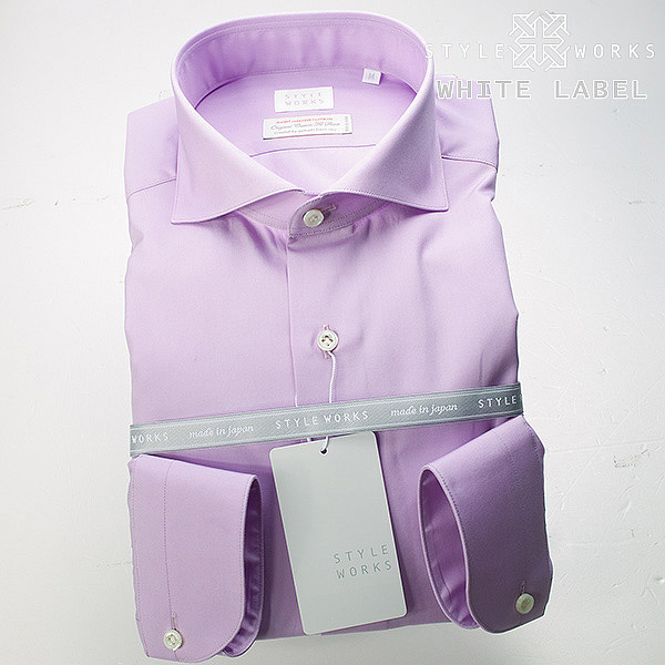 <White Label~ホワイトレーベル~>オリジナルドレスシャツ 長袖 カッタウェイ/ホリゾンタルワイド  パステルパープルメンズ fs3gm